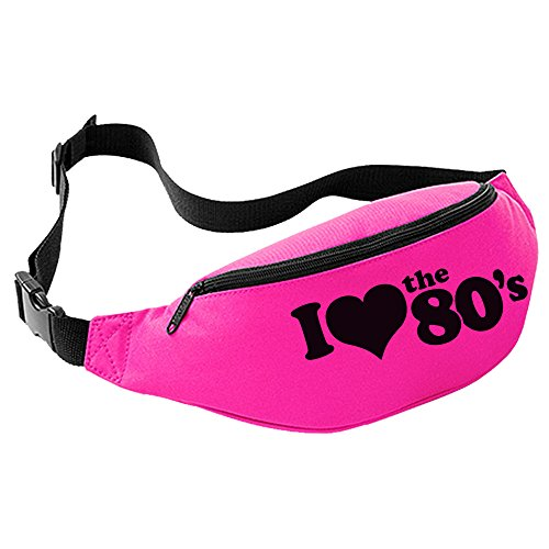 I Love the 80's Bum Bag (Pink with Black Print)
