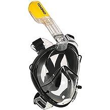 TOMSHOO Adulto Máscara de Snorkel Buceo Natación Acuáticos Anti-fugas Antivaho Anti-niebla con Diseño de Doble Canal 180° Panorámico Diseño de una Pieza de Gafas de Protección y Tubo de Respiración