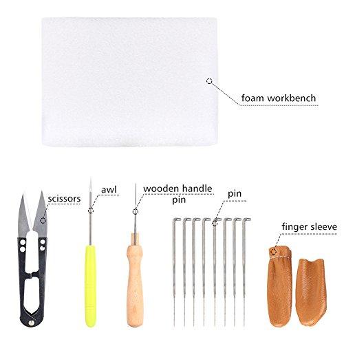 yosoo Trockenfilzen Nähset Werkzeug Starter Kit Wollfilz Werkzeuge Matte Schere Fingerschutz Filznadel Gewinde Repair Craft Set
