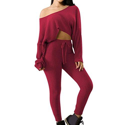 Sport 2pcs Bekleidungssets Damen, ZIYOU Bekleidung Pullover / Frauen Lange Ärmel Sweatshirt + Hosen Sets (Rot, M) (Roten Hose Pullover)