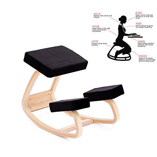 Enms plus sedia ergonomica inginocchiato grande home office o sedia da scrivania, cuscini per ginocchia nero
