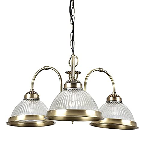 Traditional Style 3 Way Antique Brass & Clear Glass Drop Down Ceiling Light Fitting