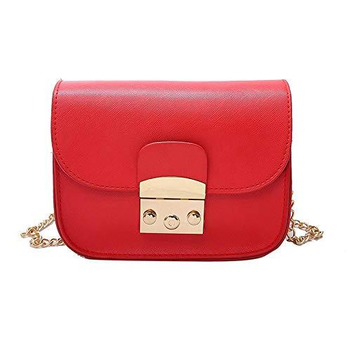 KAIDILA Crossbody Taschen Handtaschen für Frauen Patent Elegante Kette Quadrat Paket PU Leder Damen Umhängetasche Fashion Tragetasche casu Al & Arbeit, weiß Rot Blau und Schwarz
