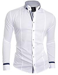 D&R Fashion Stylish Shirt with Grandad and Finishings Stitchings Navy Blue/White