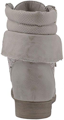 Elara Damen Stiefeletten | Worker Boots Spitze | Zipper mit Blockabsatz Grau Style