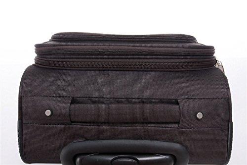 BEIBYE 4 Rollen Reisekoffer 3tlg.Stoffkoffer Handgepäck Kindergepäck Gepäck Koffer Trolley Set-XL-L-M (Coffee, M-Handgepäck-54cm) - 8
