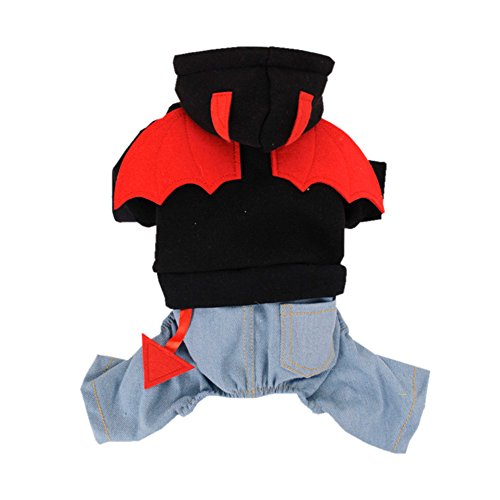 Pet Dog Puppy Devil Bat Wings Denim Hoodie Halloween-Kostüm Junge Mädchen Jumpsuit Kleidung Fleece (Kostüme Wings Dragon)