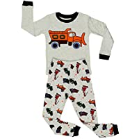 Elowel | Pyjama | Baby Boys Pajama Set | 2 Piece (Top and Pants) | Size: 12-18 Months | Colour: Grey | 100% Cotton | Design: Sandtruck | Tight-Fitting | Avalibale Sizes: 12 Months - 8 Years