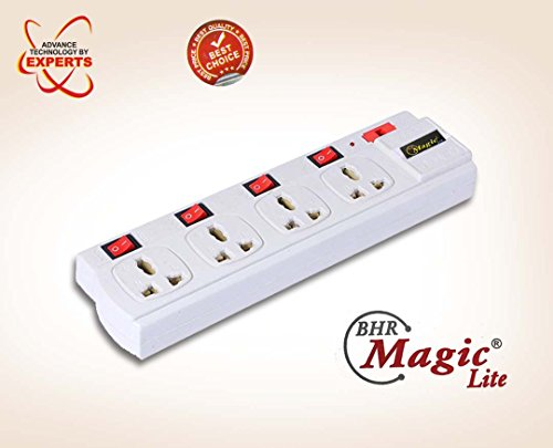 MAGIC LITE® Electrical Extension Board Four Sockets with Four Individual Rockers Switches, Power Strip, extension cord, extension board (WHITE)  available at amazon for Rs.249