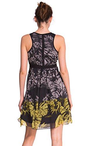 Desigual Damen Trägerkleid schwarz/gelb/weiß