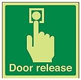 vsafety 22021am-g Tür Release Safe Zustand Türschild, Glow in the Dark, 1mm aus Kunststoff, quadratisch, 150mm x 150mm, grün