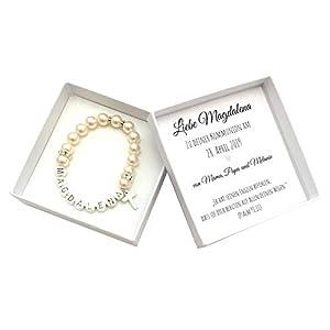 Kommunion Geschenk Mädchen personalisiert mit Geschenkbox, Namensarmband Perlen, Kommunionsgeschenk