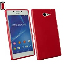 Emartbuy® Sony Xperia M2 Glänzend Gel Hülle Schutzhülle Case Cover Rot