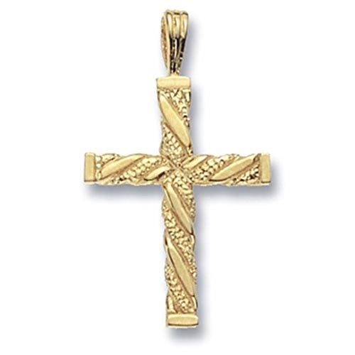 Or 9ct Fancy-Collier Femme-Pendentif croix sur une maille jaseron