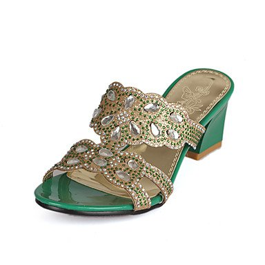 zhENfu donna pantofole & amp; flip-flops sandali Slingback Sintetici PU Estate Autunno Abito casual Rhinestone Chunky tallone oro verde blu 2A-2 3/4in Green