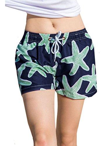 AiSi Damen / Herren modern Badeshorts Bademode Hotpants Bikinihose Wassersport Schwimmshorts Boardshorts Schnell trocknende Strand Hosen, XL XXL Blau Damen XL