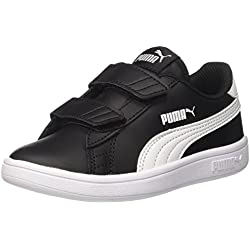 PUMA Smash V2 L V PS, Sneakers Basses Mixte Enfant Noir (Puma Black-puma White) 35 EU