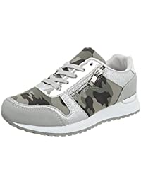Ital-Design Sneakers Low Damenschuhe Keilabsatz/Wedge Schnürsenkel Freizeitschuhe