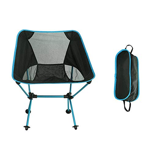 CHOULI Foldable Mesh Patchwork Chair Aluminum Alloy Outdoor Camping Fishing Chair Blue