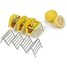 Soporte para Tacos de acero inoxidable HapWay soporte para comida mexicana para tacos duros o blandos, acero inoxidable, 4 Stack Holder