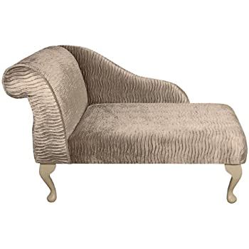 41 mini chaise longue in a sand gold rippled fabric for Amazon uk chaise longue