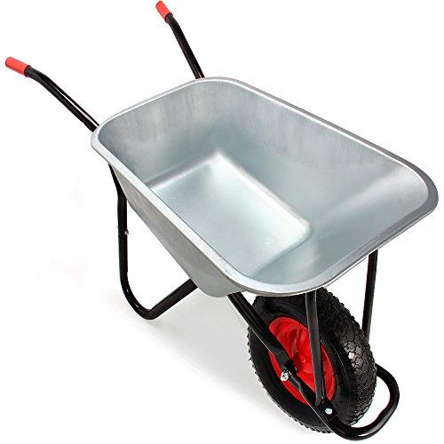 Monzana® Schubkarre 100 Liter | bis 250kg Belastbarkeit | Luftreifen mit Stahlfelge | verzinkt | stabile Ausführung mit Aufliegewanne | Bauschubkarre Gartenschubkarre - 3