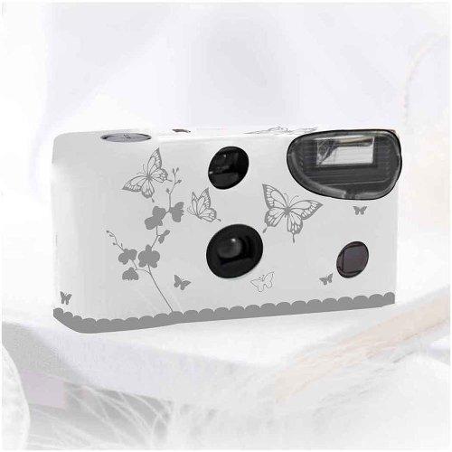 Einwegkameras / Einwegfotos in weiß mit silbernen Schmetterlingen - Inhalt pro Packung: 10 Stück Hochzeitskameras