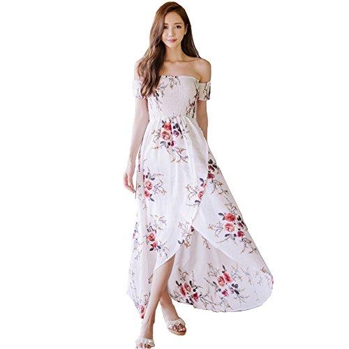 Sommer Kleid Lang Damen Boho Blumen Maxikleid Casual Off Shoulder ...