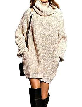 Pullover Largo Mujer Elegantes Moda Jersey Largo Otoño Invierno con Bolsillos Color Sólido Cuello Alto Manga Larga...