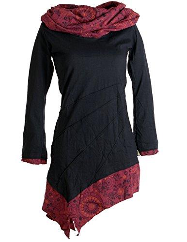 Vishes - Alternative Bekleidung - Asymmetrisches Kleid aus Baumwolle mit Schalkragen schwarz-rot 46-48 (4XL)