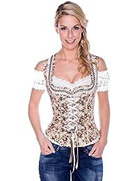 Krüger - Damen Trachten Mieder mit floralem Muster aus 100% Baumwolle, Natural Flowers (Artikelnummer: 31540-15)