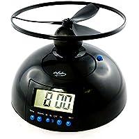 MonsterZeug Fliegender Wecker mit Propeller, fliehender UFO Hubschrauber Wecker der wegfliegt, Alarm Clock mit Uhr, LCD Display