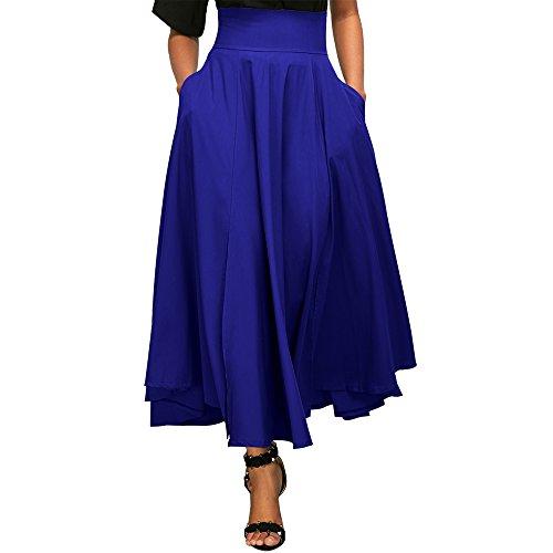 Uranus Damen Hohe Taille Swing A-Linie Beiläufig Midi Rock Kleid Kleider Blau (Druck Maxi-kleid Baumwolle)