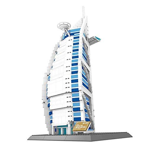 Sharplace 3D Puzzle Bauspielzeug - Weltberühmte Sehenswürdigkeiten Gebäude Modell Spielzeug - Dubai Burj Al Arab Hotel