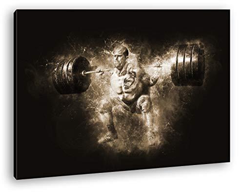 deyoli malerischer Gewichtsheber Format: 60x40 Effekt: Sepia als Leinwandbild, Motiv fertig gerahmt auf Echtholzrahmen, Hochwertiger Digitaldruck mit Rahmen, Kein Poster oder Plakat