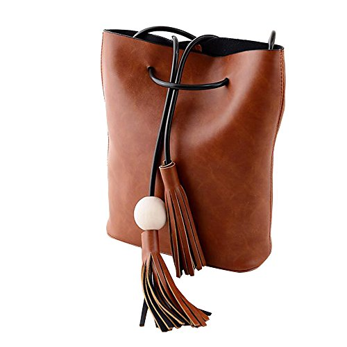 Contever® Fashion PU Borsa dei Sacchetti di Spalla del Tote Messenger Hobo Crossbody - Marrone Chiaro - Neonata Tote