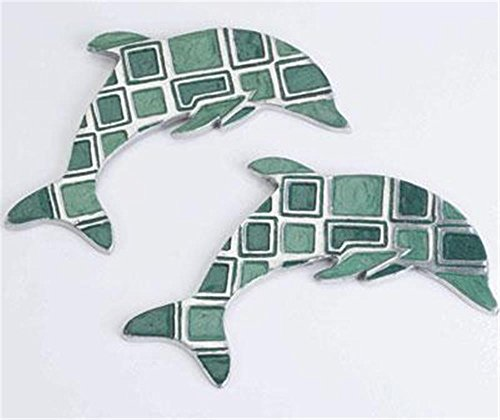 Pair of Dolphin Design Cast Aluminium Hanging Wall Art Plaques Mosaic Tile Design
