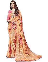 Gaurangi Creation Chiffon Floral Printed Casual Wear Saree For Women (KLS1001 Peach)