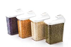 Slings Plastic Cereal Dispenser Easy Flow Storage Jar, 750ml (Set of 3)