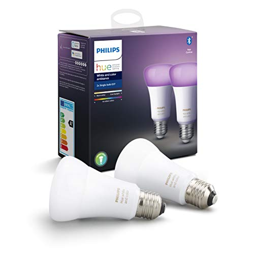 Philips Lighting Hue White and Color Ambiance Lampadina LED Intelligenti, Attacco E27, 9 W, 2 Pezzi, Versione 2019