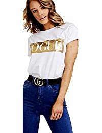New Womens Tie Up Stretch Guilty Gold Foil Cap Sleeves Ladies Crop Top Size 8-14
