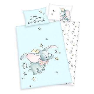 3 tlg. Baby/Kinder Bettwäsche Motiv: Dumbo - renforcé 100x135 cm + 40x60 cm + 1 Spannbettlaken 70x140 cm - 100% Baumwolle (You are wonderful)