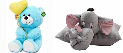 Deals India I Love You Balloon Heart Teddy Blue 20 cm and Grey elephant pillow (38 cm) combo  available at amazon for Rs.249