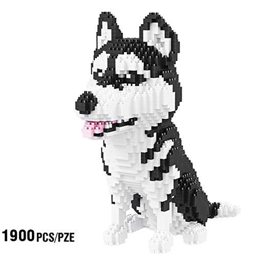 SXPC Husky Sibérien Chien Animal Animal Modèle 3D 1900 pcs DIY Diamant Mini Bâtiment Nano Briques Blocs Assemblée Jouet