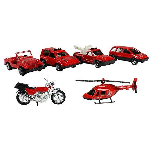 Preisvergleich Produktbild COM-FOUR® Autoset Feuerwehr 6teilig, Hubschrauber, Motorrad, Autos