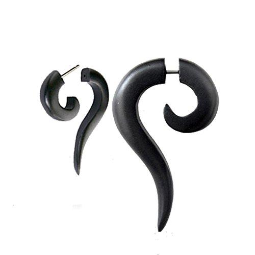 chic-net-tribal-spirale-ohrring-sono-holz-langgezogene-spitze-schwarz-fake-piercing