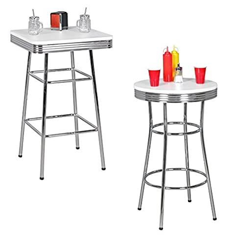 FineBuy KING - American Diner Bar table square 60 x 100 x 60 cm MDF / aluminum | Retro bar table USA in White / Silver | Robust bistro table in the style of the 50s | Party table with base in chromed aluminum