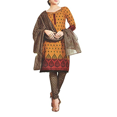 Nashira Women'S Cotton Unstitched Orange, Grey and Red Combination Casual Daily Wear...