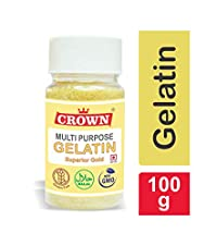 CROWN Gelatin 100g | Multipurpose | Superior Gold Grade | FSSAI Approved | Halal | 99% Protein | Spl. for Making DIY Sweet & Jam, DIY Peel Off Mask, Blackheads & Whiteheads Remover | Effective for Joint Pain