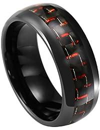 PiercingJ - 8mm Bague Anneaux Tungstène Tungsten Rouge Fibre de Carbone Rings Cadeau pour l'Anniversaire Mariage Engagement Alliance Homme